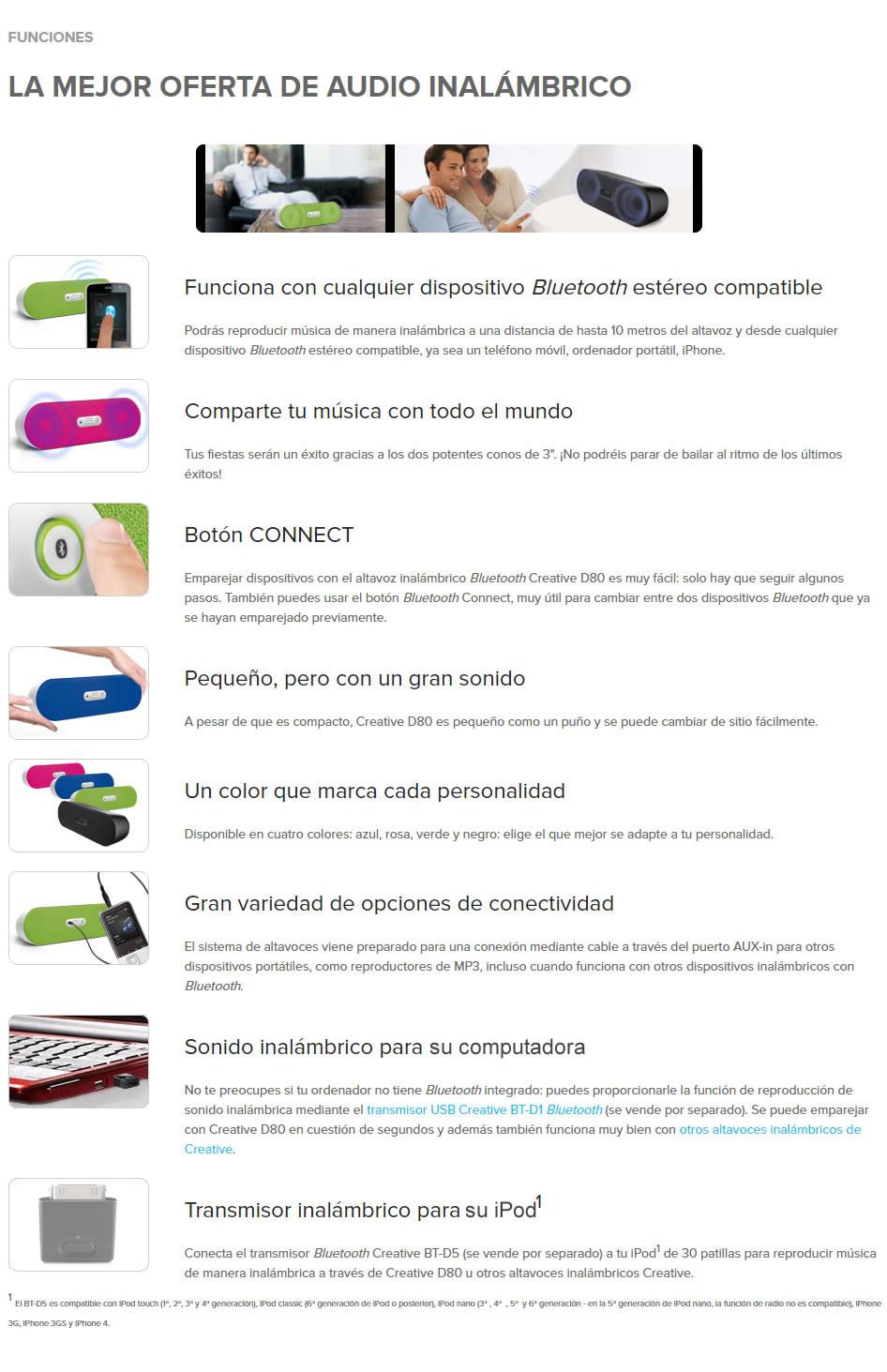Altavoz Inalámbrico Bluetooth D80 - Negro