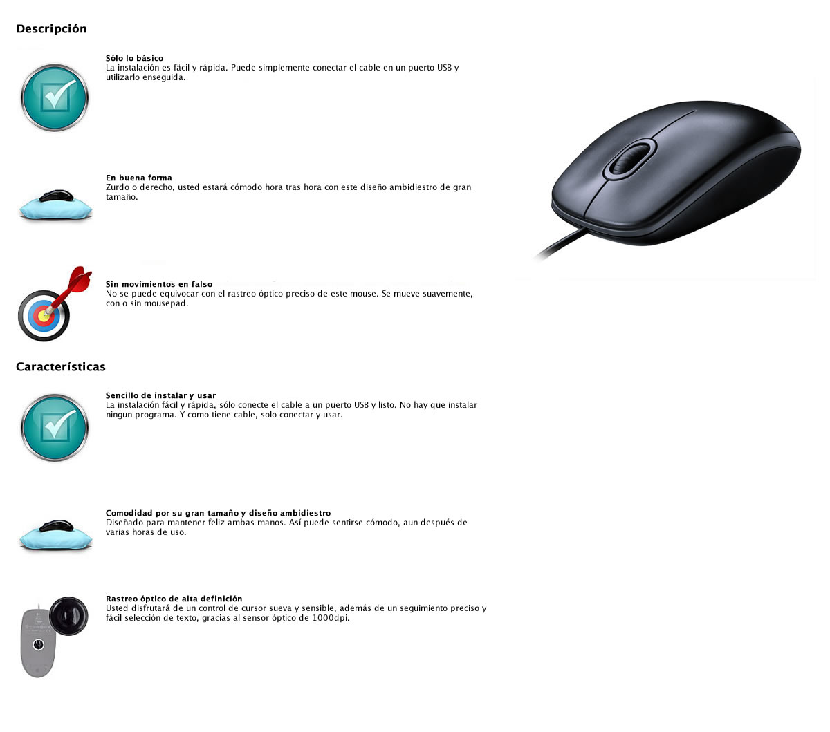 Mouse Óptico M100 con cable USB 1000dpi