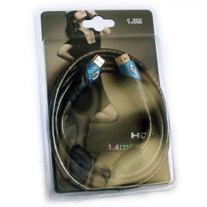 Cable HDMI-HDMI v1.4 Negro y Azul - 1,8m