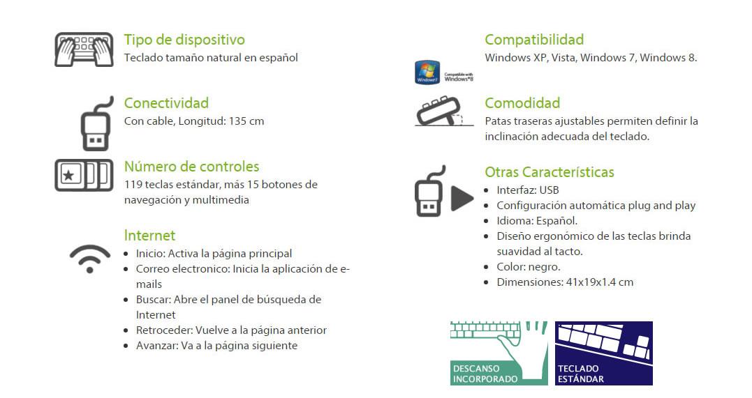 Teclado Contour Slim con Cable USB en Español